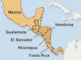 Central American Map with Cafta 5 Countries