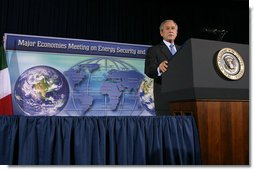 """President George W. Bush addresses the Major Economies Meeting on Energy Security and Climate Change Friday, Sept. 28, 2007, at the U.S. State Department. """"Our guiding principle is clear: We must lead the world to produce fewer greenhouse gas emissions, and we must do it in a way that does not undermine economic growth or prevent nations from delivering greater prosperity for their people,"""" said President Bush. White House photo by Chris Greenberg"""