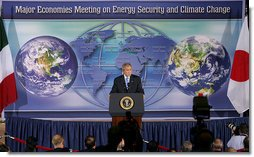 """President George W. Bush addresses the Major Economies Meeting on Energy Security and Climate Change Friday, Sept. 28, 2007, at the U.S. State Department. """"The nations in this room have special responsibilities,"""" said the President. """"We represent the world's major economies, we are major users of energy, and we have the resources and knowledge base to develop clean energy technologies."""" White House photo by Chris Greenberg"""