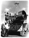 An equipment test is made by the Project da Vinci crew and technicians before launching the 70-foot helium-filled balloon on the first da Vinci flight in 1974. The square, two-tier gondola was designed by Vera Simons. The top tier was used for work and piloting. The lower tier was used for storage, batteries, sleeping bags, etc.