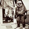 Joseph Kittinger readies himself for a high-altitude jump, standing beside the Excelsior gondola, August 27, 1960