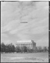 The dirigible Los Angles flies over the Lincoln Memorial, Washington, D