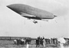 An early French military dirigible, the Republique, leaving Moisson for Chalais-Mendon (1907)