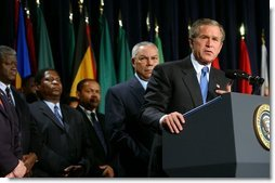 President George W. Bush speaks briefly before signing H.R. 1298, the United States Leadership Against HIV/AIDS, Tuberculosis, and Malaria Act of 2003, at the State Department in Washington, D.C., Tuesday, May 27, 2003. The legislation commits $15 billion to fight AIDS abroad.   White House photo by Tina Hager
