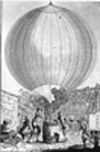 The inflation of the first hydrogen balloon, the Charlière, August 1783.