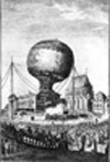 The first passengers ascend into the air, September 19, 1783, in Annonay, France.