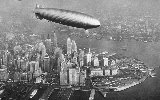 The Hindenburg flies over New York City just before it explodes