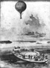 A reconnaissance balloon is launched from the coal barge George Washington Parke Curtis, during the American Civil War