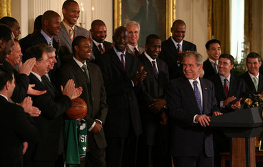 President George W. Bush meets with members of the 2008 NBA Championship Boston Celtics Friday, Sept. 19, 2008, at the White House. The Celtics set a record for the biggest margin of victory in a championship game when they defeated the Los Angeles Lakers 129-96 in the series-clinching sixth game. White House photo by Joyce N. Boghosian