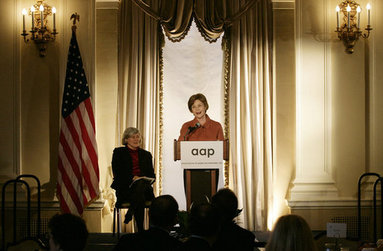 Mrs. Laura Bush speaks at the 2008 Annual Meeting of the Association of American Publishers Wednesday, March 5, 2008, at the Yale Club in New York City. Looking on is Patricia Schroeder, President and Chief Executive Officer of the group. White House photo by Shealah Craighead