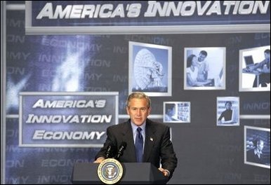 President George W. Bush discusses the benefits of broadband and wireless technology during a demonstration of such technologies at the U.S. Department of Commerce Thursday, June 24, 2004.