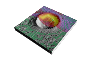 An artist rendition of Diviner's temperature data being laid over LOLA-like topography and a derived level surface product (depicted in green).