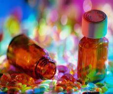 Photograph of pills and pill bottles