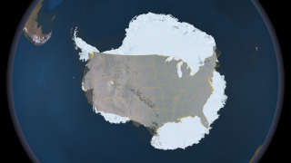 This image compares the size of the continental United States to the size of Antarctica.