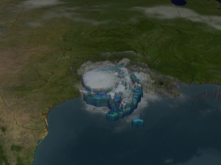 Tropical Storm Eduoard on August 5, 2008. Peer through the clouds to see the storms structure. The blue region represents areas where the storm is dumping at least 0.25 inches of rain per hour and the green region is raining 0.5 inches of inches per hour.
