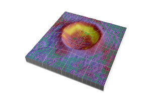 An artist rendition of Diviner's temperature data over a lunar crater. Yellow and red indicate areas of high temperatures whereas purple and blue indicate areas with colder temperatures. The green areas depict areas with level surfaces.
