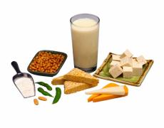 Photograph of a variety of soy products