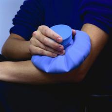 Photograph of an ice pack on someone's elbow