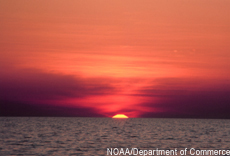 Photograph of a sunset over the ocean