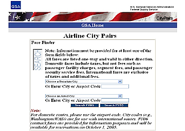 Image of Airline City Pairs Application Homepage