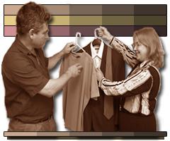 Image consultant shows client clothes