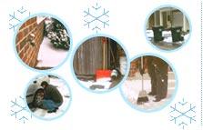 Montage of snow scenes around single home.