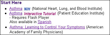 Screen capture of the Start Here category from the Asthma Health Topic page