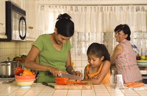 photo of family preparing food together