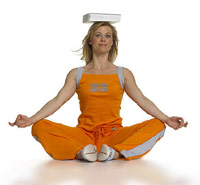 photo of woman balancing a book on her head