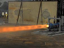 Engineers at NASA's Marshall Center test firing the ullage settling motor on Sept. 11.