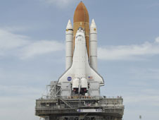 Space shuttle Atlantis on the launch pad at the Kennedy Space Center, Fla.