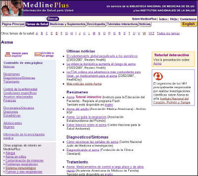 Captura de pantalla de la página anterior del asma