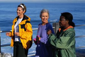three women power walking