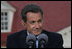 "President Nicolas Sarkozy of France listens to a reporter's question Wednesday, Nov. 7, 2007, during a joint press availability with President George W. Bush at the Mount Vernon Estate in Mount Vernon, Va. President Sarkozy told President Bush, ""I get the distinct sense that it is France that has been welcomed so warmly, with so much friendship, so much love... So when I say that the French people love the American people, that is the truth and nothing but the truth."""