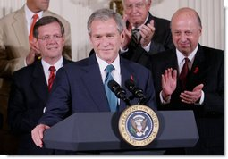 President George W. Bush is applauded as he addresses his remarks Wednesday, July 30, 2008 in the East Room of the White House, prior to signing of H.R. 5501, the Tom Lantos and Henry J. Hyde United States Global Leadership Against HIV/AIDS, Tuberculosis and Malaria Reauthorization Act of 2008. White House photo by Eric Draper