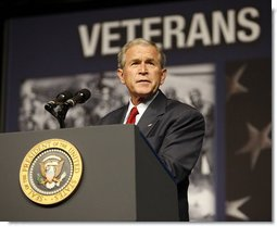 President George W. Bush addresses his remarks Wednesday, Aug. 20, 2008, to the Veterans of Foreign Wars National Convention in Orlando, Fla., where President Bush thanked the members of the VFW for their work on behalf of America's veterans and their support in fighting the war on terror.  White House photo by Eric Draper