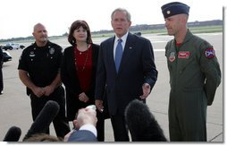 """President George W. Bush speaks to the media upon his arrival Friday, Sept. 12, 2008, at Tinker Air Force Base, Oklahoma. Speaking about the impending landfall of Hurricane Ike, the President said, """"I want to thank the citizens of Oklahoma for getting ready to help a Texan in need. I urge my fellow Texans to listen carefully to what the authorities are saying in Galveston County or parts of Harris County, up and down the coast. The federal government will not only help with the pre-storm strategy, but once this storm passes we'll be working with state and local authorities to help people recover as quickly as possible.""""  White House photo by Chris Greenberg"""
