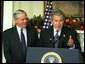 President George W. Bush announces William Donaldson as his nominee for Chairman of the Securities and Exchange Commission Tuesday, December 10, 2002 in the Roosevelt Room of the White House.  White House photo by Paul Morse