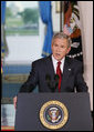 "President George W. Bush issues a statement Tuesday, May 1, 2007, regarding his veto of the Iraq War Supplemental. Speaking from Cross Hall in the White House, the President said, ""We need to give our troops all the equipment and the training and protection they need to prevail. The need to act is urgent.""  White House photo by Eric Draper"