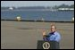 President George W. Bush delivers remarks on the Columbia River Channel Deepening Project in Portland, Ore., Friday, Aug. 13, 2004. The President announced a $15 million budget amendment for the U.S. Army Corps of Engineers to begin construction on the project.  White House photo by Eric Draper