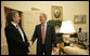 President George W. Bush greets Prime Minister Tony Blair of Great Britain in the Oval Office of the White House, Friday, May 26, 2006, during the second day of the Prime Minister's two-day visit. White House photo by Eric Draper