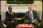 President George W. Bush welcomes Rebecca Garang, the Minister of Transportation, Roads and Bridges of the Government of Southern Sudan, to the Oval Office, Friday, Feb. 10, 2006 at the White House.  White House photo by Eric Draper