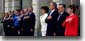 President George W. Bush and the First Lady Laura Bush and the American delegation during the playing the American national anthem with the president of Poland Aleksander Kwasniewski and Mrs. Kwasniewski during an arrival ceremony at the Polish Presidential Palace