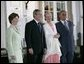 President George W. Bush and Mrs Bush join Her Majesty Queen Margrethe II and His Royal Highness The Prince Henrik of Denmark after arriving at the Fredensborg Palace, Tuesday, July 5, 2005.  White House photo by Eric Draper