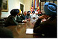 "President Bush meets with Sikh Community Leaders in the White House Roosevelt Room to discuss,""the common commitment to make sure that every American is treated with respect and dignity. We're all Americans, bound together by common ideals and common values,"" said the President during his remarks. White House photo by Tina Hager."