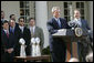 President George W. Bush speaks during a ceremony honoring the 2005 Super Bowl Champions in the Rose Garden Wednesday, April 13, 2005.  White House photo by Eric Draper
