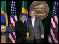 President George W. Bush and Brazilian President Luiz Inacio Lula da Silva shake hands at the conclusion of their joint news conference Saturday, March 31, 2007, at Camp David. White House photo by Joyce N. Boghosian