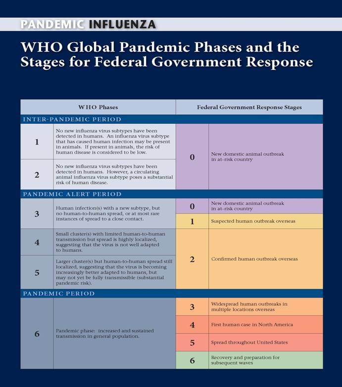 WHO Phases of a Pandemic/U.S.  Government Stages of a Pandemic