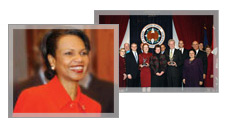 [1] Secretary Rice photo. [2]Under Secretary for Management Henrietta Fore and other Department employees accept two Presidential Awards for Management Excellence at ceremony, Dec. 13, 2005. OPM photo.