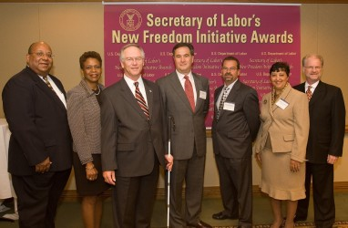 <P>Pictured with Assistant Secretary W. Roy Grizzard (third from left) prior to the awards ceremon are 2006 NFI Award recipients Ty Alexander, Highmark; Daisy Jenkins, Raytheon; Mike Ferdinandi, CVS/pharmacy; Rick Kressline, PRIDE Industries, Cheryl Locke, The RAVE Program, and Dr. Alan Hurwitz, National Technical Institute for the Deaf. Not pictured are indiviudal awardee Ilene Morris-Sambur, Jack Lavin, disabilityworks; and Mark Bertolini, Aetna.